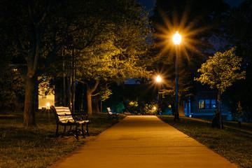 Sidewalk lit up with streetlights on a dark night