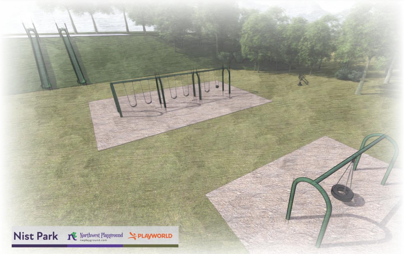 Rendering of new Nist Park playground equipment.